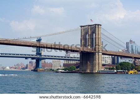Manhattan Bridge and Brooklyn Bridge, New York City, USA - stock photo