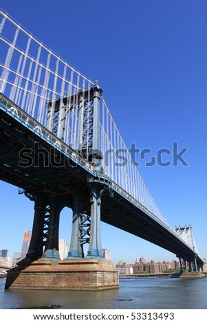 Manhattan Bridge and lower Manhattan Skyline, New York City