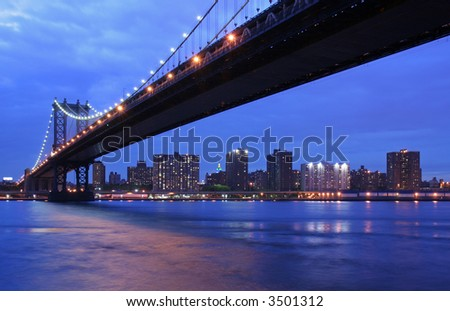Manhattan Bridge and NYC at twilight