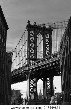 Manhattan Bridge at Brooklyn street New York city US - stock photo