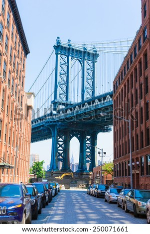 Manhattan Bridge at Brooklyn street New York city US - stock photo