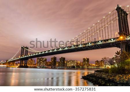 Manhattan Bridge at Night - stock photo