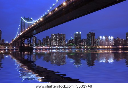 Manhattan Bridge at night- New York City