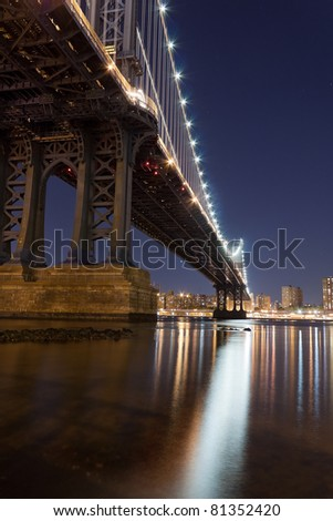 Manhattan Bridge at night viewed from Fulton ferry state park - stock photo