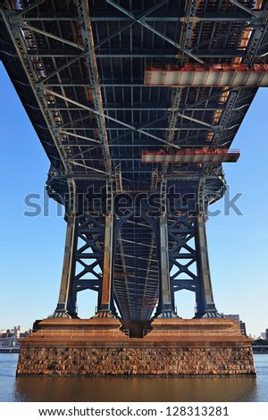 Manhattan Bridge closeup in the morning over East River in Lower Manhattan in New York City - stock photo