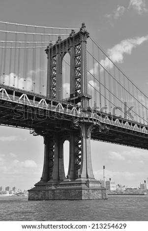 Manhattan Bridge, connecting Manhattan and Brooklyn, New York City - stock photo