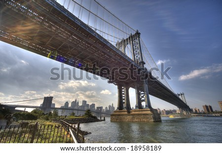 Manhattan bridge, Downtown Manhattan, New York City - view from Brooklyn