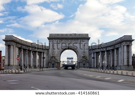 Manhattan Bridge Entrance in New York City - stock photo
