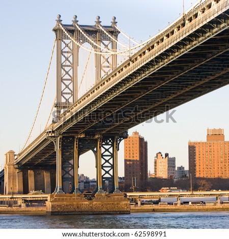 Manhattan Bridge in New York City - stock photo
