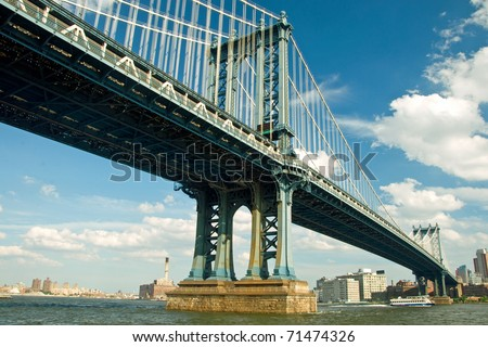 Manhattan bridge in New York City with beautiful blue sky in background - stock photo
