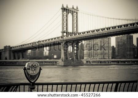 Manhattan Bridge in NYC - stock photo