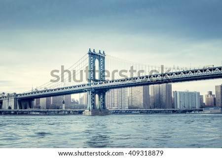 Manhattan bridge, Manhattan New York. Urban living and transportation concept. Vintage color post processed