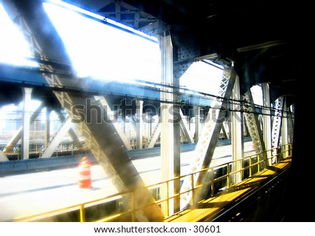 Manhattan Bridge Subway - stock photo