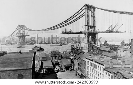 Manhattan Bridge under construction in 1909. The bridge spanned the east River from Manhattan's Canal Street to Flatbush Avenue in Brooklyn. - stock photo