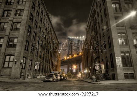 Manhattan bridge,view from Washington street , New york,United states of America - stock photo