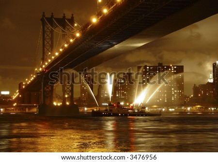 Manhattan Bridge with Fireboat, East River, New York City, USA