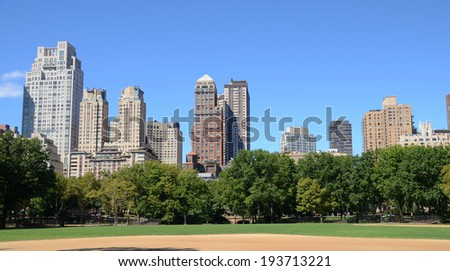 Manhattan Buildings view from Central Park in New York ,USA