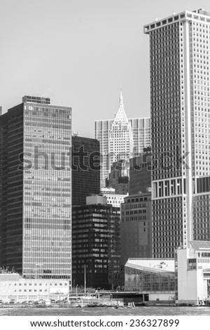 manhattan circa dec 2011: manhattan skyline and skyscraper view from hudson river in New york - stock photo