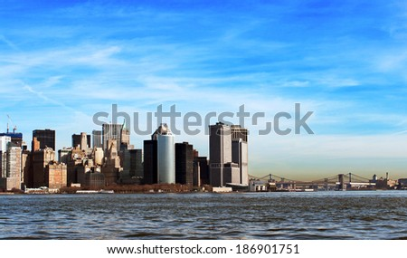 Manhattan cityscape during a sunny day