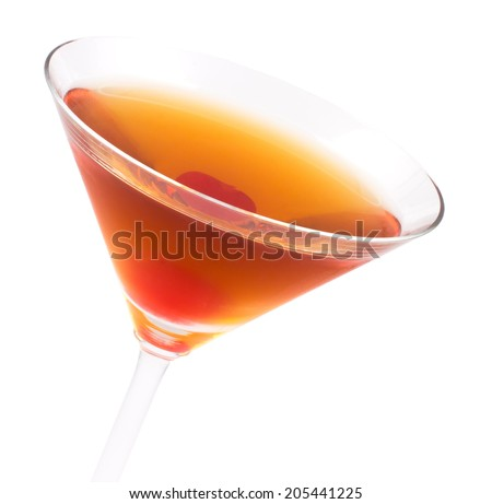 Manhattan cocktail, consisting of rye or Canadian whisky, red sweet vermouth and bitter garnished with a Maraschino cherry - stock photo