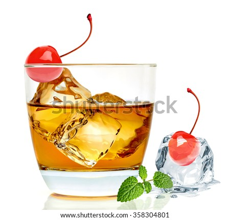 Manhattan cocktail in rock glass isolated on white background  - stock photo