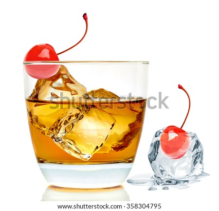 Manhattan cocktail isolated on white background  - stock photo