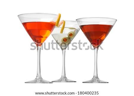 Manhattan Cosmopolitan Martini cocktails cutout, isolated on white background - stock photo