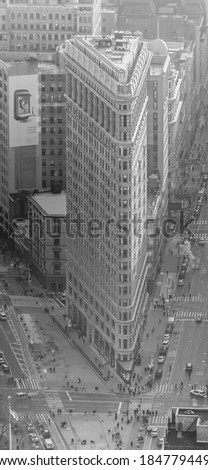manhattan 15 dec 2011 - areal view of flatiron new york - stock photo