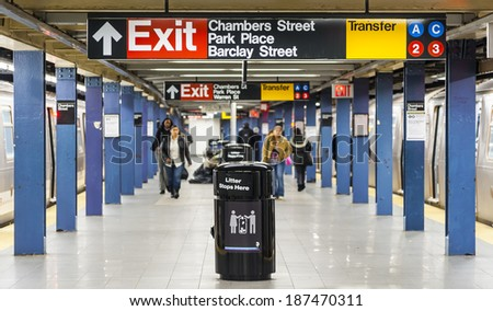 Manhattan 15 dec 2011 - unidentified people walking in a subway terminal - stock photo