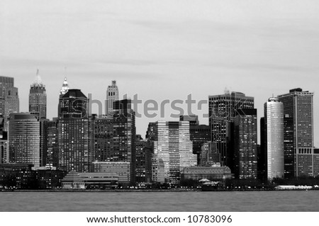 Manhattan downtown office buildings from New Jersey