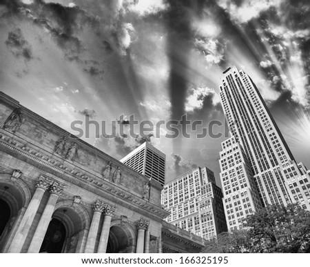 Manhattan, Fifth Avennue. New York Public Library at dusk. - stock photo