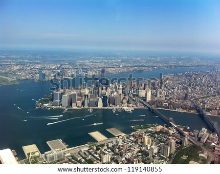 Manhattan from above - aerial view - stock photo