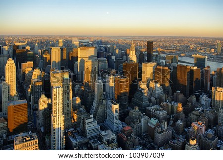 Manhattan from Empire State Building - stock photo