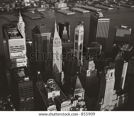 Manhattan from WTC observation deck in May 1999 - stock photo