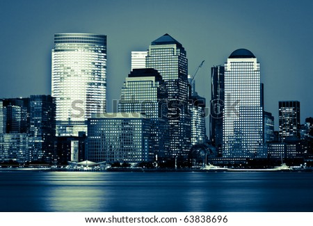 Manhattan, lower New York financial offices(downtown) over Hudson river panorama from Jersey city - stock photo