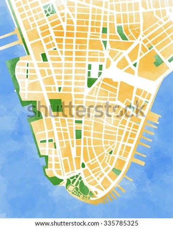 Manhattan map, New York City, drawn by hand, brush, roads and streets