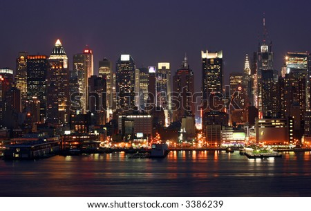 Manhattan Mid-town Skyline at Night