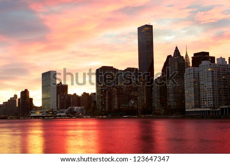 Manhattan midtown architecture, sunset time, New York City