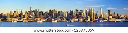 Manhattan Midtown skyline panorama before sunset, New York - stock photo