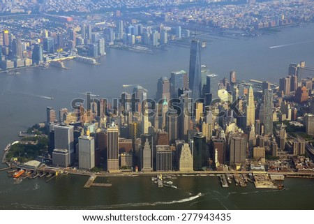 Manhattan, New York City aerial view in the morning - stock photo
