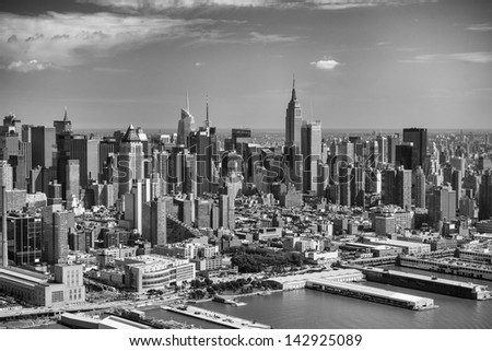 Manhattan, New York City. Aerial view of Hell's Kitchen Area in summer. - stock photo