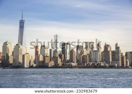Manhattan - New York City skyline view across the Hudson river. - stock photo