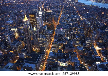 Manhattan New York city streets during sunset - stock photo