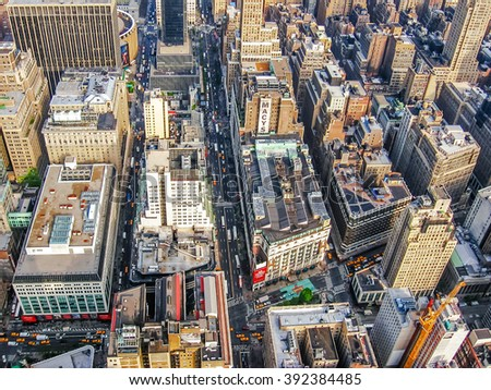 Manhattan, New York city, United States - 1st May, 2008:  aerial view of skyscrapers, streets and people on their way to work. - stock photo