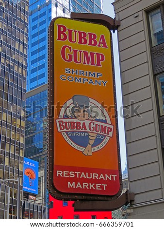 MANHATTAN, NEW YORK CITY/USA - JUNE 20, 2017: The Bubba Gump Shrimp Company sign in Times Square. Bubba Gump is a chain restaurant for seafood & American fare served in a fishing-boat-themed setting.