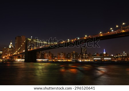 Manhattan, New York cityscape at night