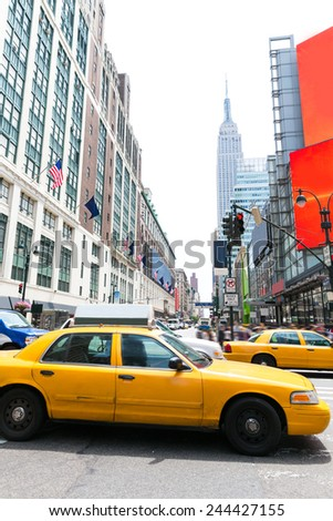 Manhattan New York New York city Yellow cab taxi downtown NYC US - stock photo