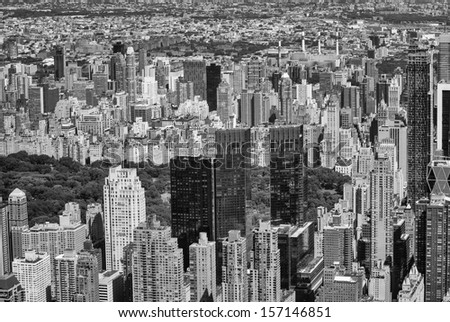 Manhattan, New York. Stunning aerial view of Central Park and surrounding skyscrapers. - stock photo