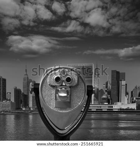 Manhattan New York sunny skyline East River NYC USA telescope photomount - stock photo