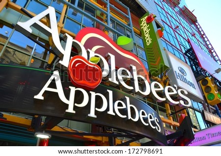 MANHATTAN, NY- SEPTEMBER 21:Apple Bees Restaurant in Manhattan New York, USA on September 21, 2013. One of the 5 boroughs of New York City, the smallest but also the most populated. - stock photo